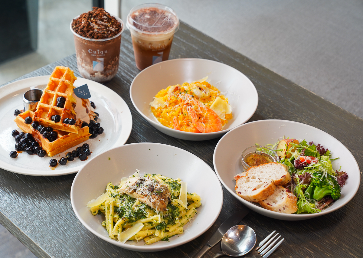 [高雄巨蛋美食]奎克咖啡博愛店-緊鄰捷運聚會超適合北歐咖啡廳!早午餐雙人組合太超值 @美食好芃友