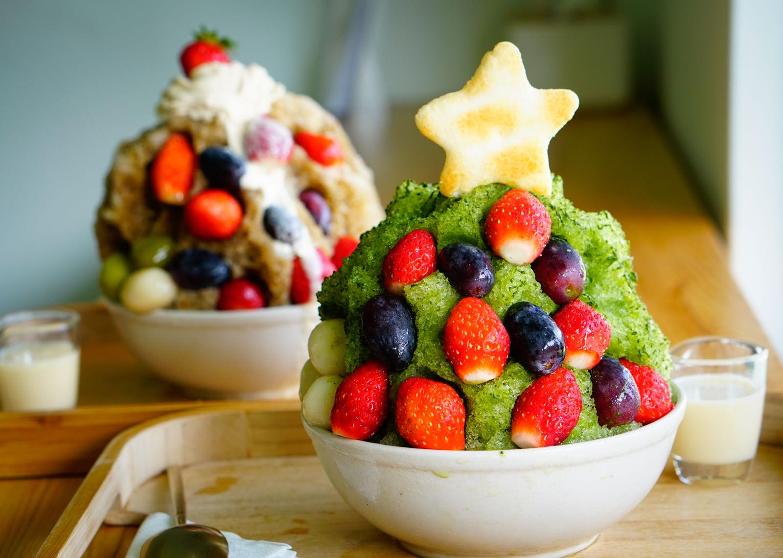 [高雄]冰屋-小山園抹茶聖誕樹刨冰x惡魔甜心草莓冰 @美食好芃友