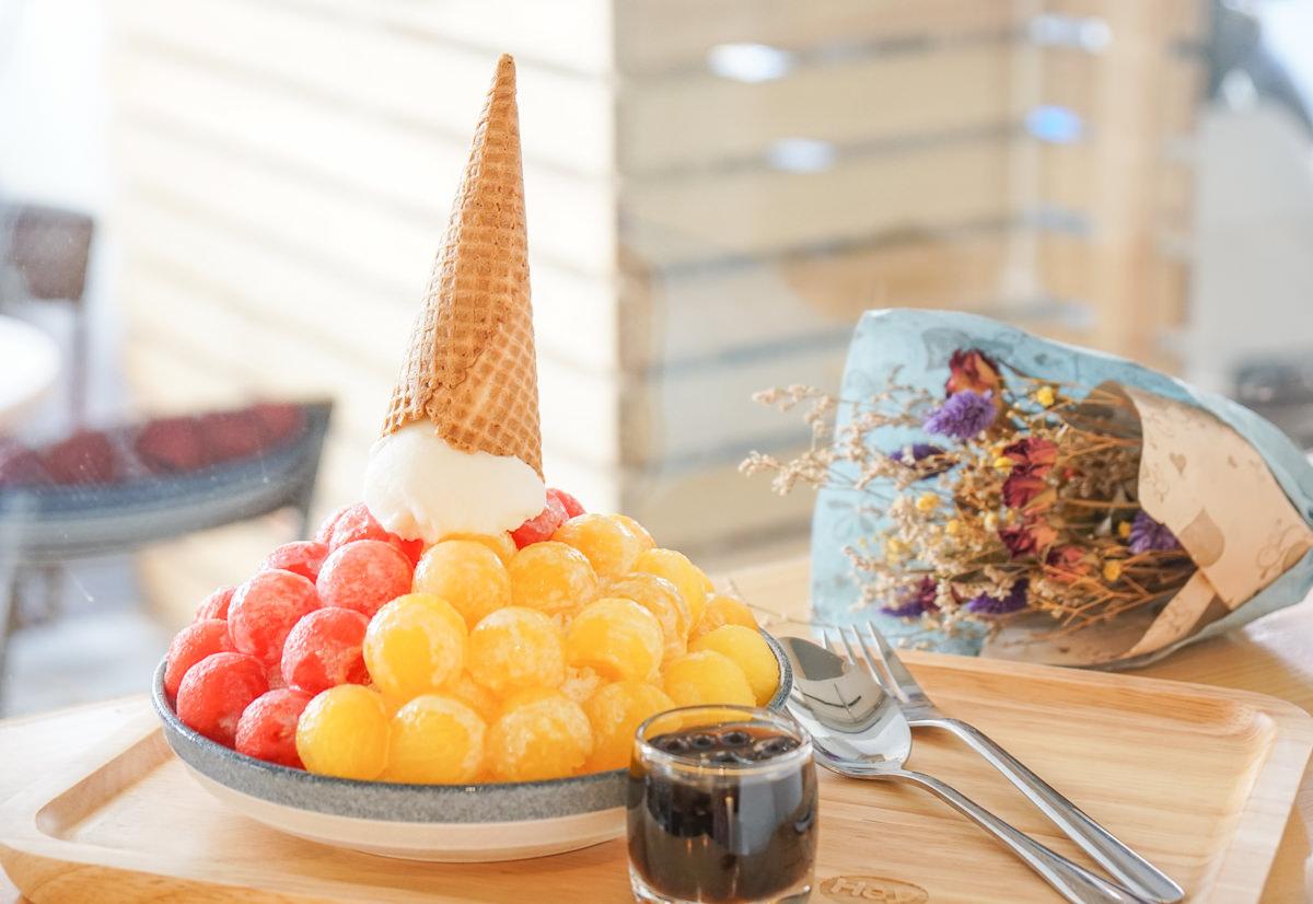 [高雄冰店推薦]午涼。Go for ice-超吸睛!繽紛雙色水玉西瓜冰~平價消暑 @美食好芃友